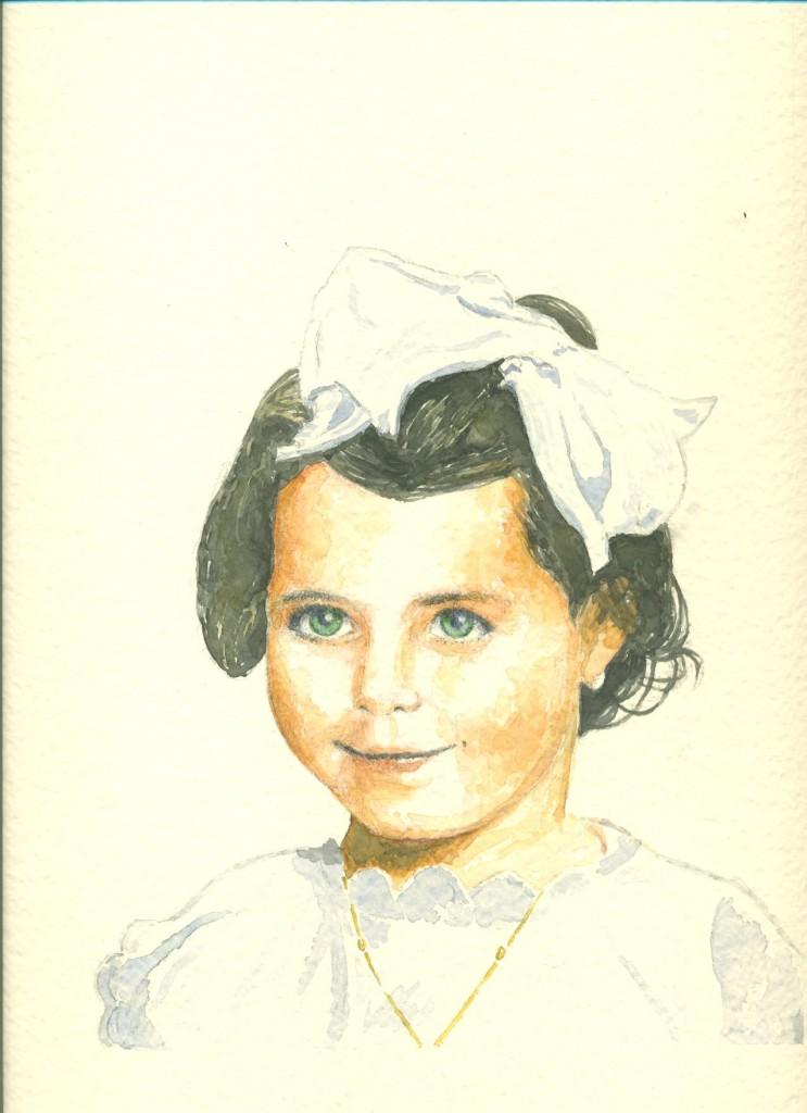 ritratto di bambina in acquarello