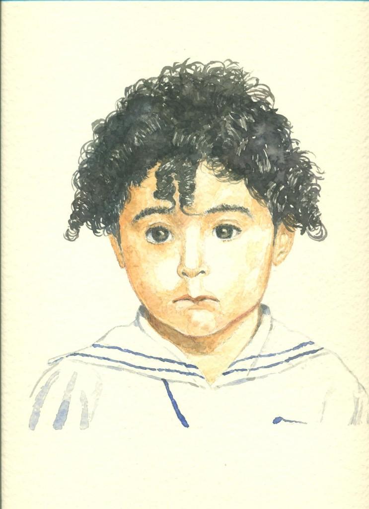 ritratto di bambino in acquarello
