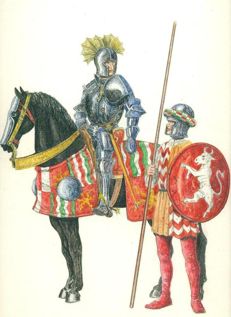 Niccolò Piccinino con fante braccesco acquarello e matita