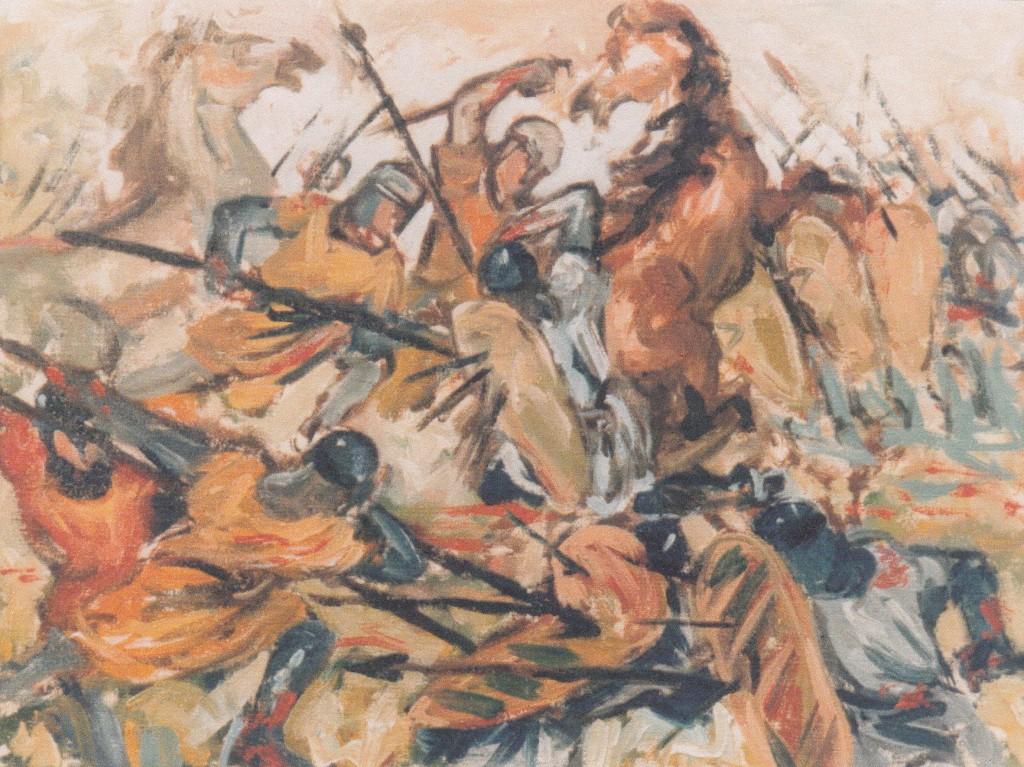 battaglia olio su tela di Roberto Bolognesi