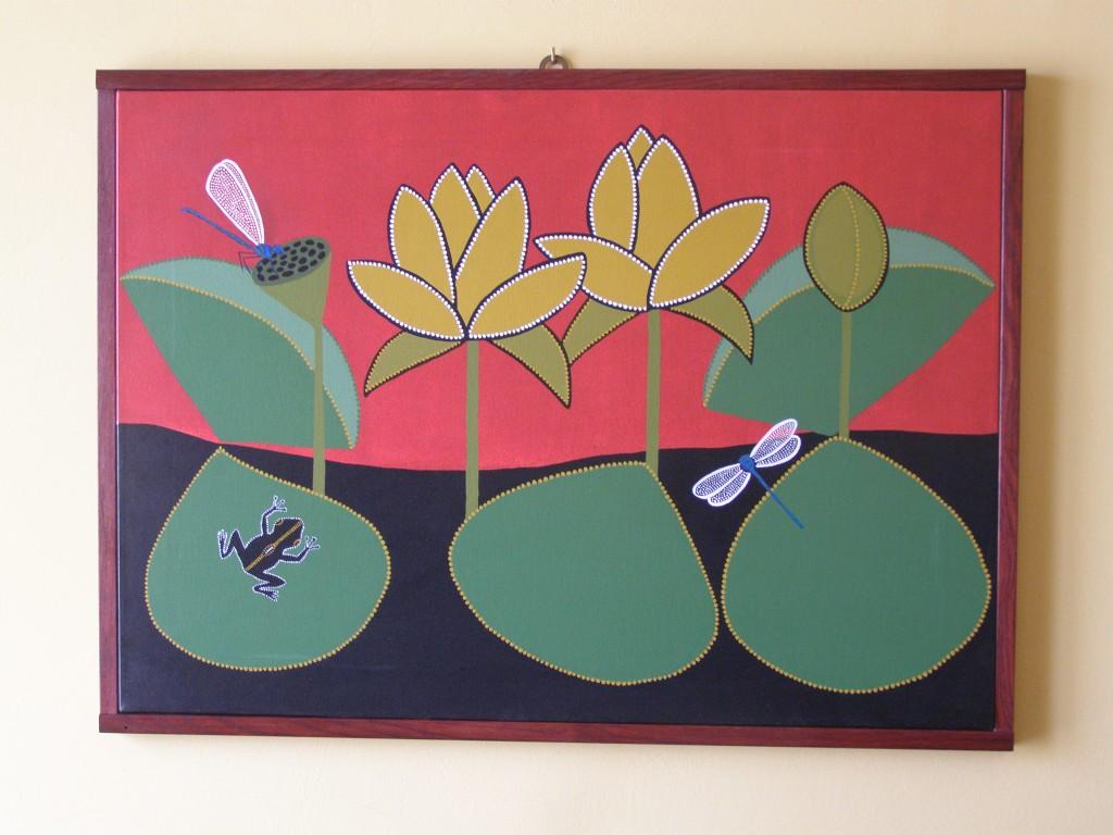 libellule e fiori di loto