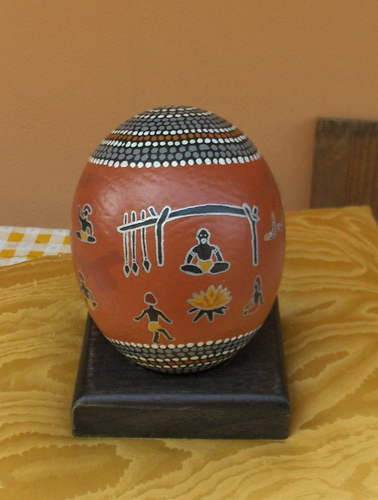 ostrich egg with Aboriginal motifs