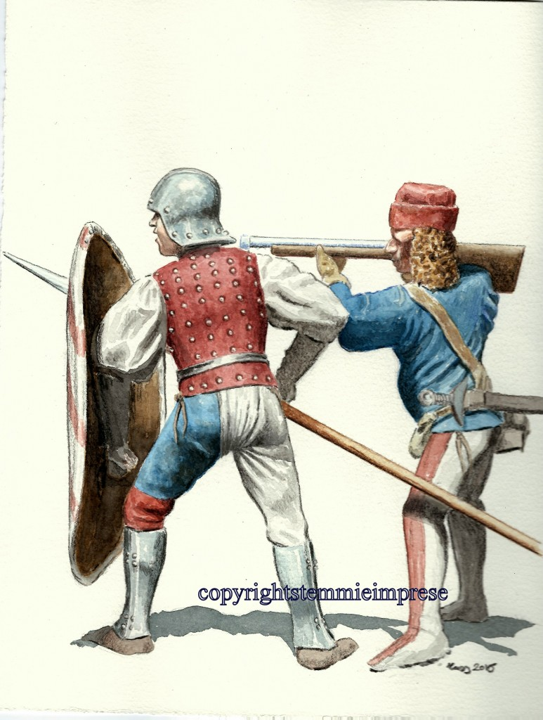 fig.11 illustrazione di Massimo Predonzani, fanti aragonesi tratti dall'Hesperis